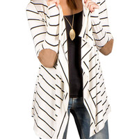 White Stripe Long Sleeve Elbow Patch Cardigan