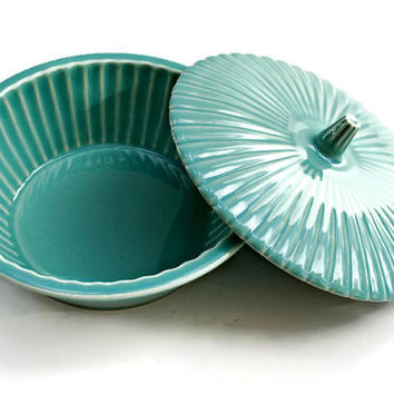 Vintage Turquoise Covered Pottery Candy Dish or Other Storage - (100.71)