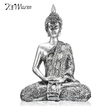 Kiwarm New 17cm Happy Buddha Sitting Meditation Small Figure Bodhisattva Decor Statue for Home Holidays Gifts Ornaments