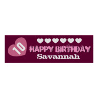 10th Birthday Star Banner Custom Name V02A HEARTS Print