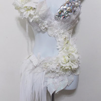 Winter Fairy Monokini, Rave Bra Irredescent Rhinestones, Pearls