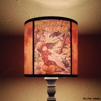 Hawaiian Pinup tiki Lamp Shade Lampshade pin up - lighting, comic book, rockabilly, psychobilly, pin up decor, tropical decor