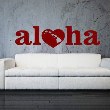 Large Aloha with Islands  Hawaiian Inspired Vinyl by 3rdAveShore