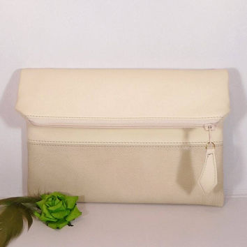 Cream wedding clutch for bride, Evening clutch bag, foldover leather clutch, beige leather purse, Personalized Envelope, wedding vanilla bag