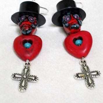 Day of the Dead Earrings, Handmade Día de Muertos Earrings, Mexican Sugar Skull Earrings, Posh Signatures lines, One Of A KInd