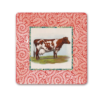 Cow Art / Cow Decor / Fall Kitchen / Kitchen Art / Wall Hanging Decoupage Plate / red guernsey cow / red and white kitchen