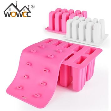 10 Cell Childhood Silicone Ice Cream Cube With Cover Tray Popsicle Molds Reusable Pop Lolly Frozen Mold Pan Kitchen Tools 2017