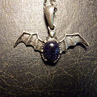 Detailed Pewter Bat with Galactic Blue Goldstone Necklace