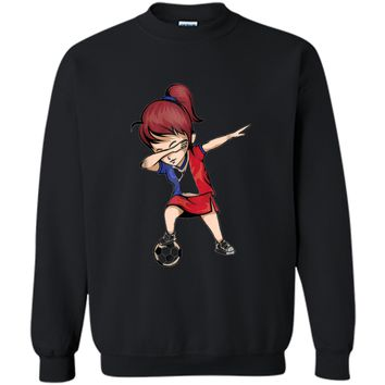 Dabbing Soccer Girl France Jersey Shirt - French Football Printed Crewneck Pullover Sweatshirt