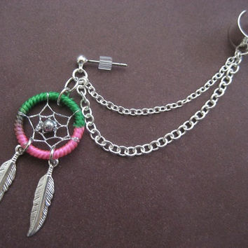 Two-tone Dream Catcher Ear Cuff Chain Cartilage Earring- Green Pink Feather Dreamcatcher Charm Stud Earcuff Piercing