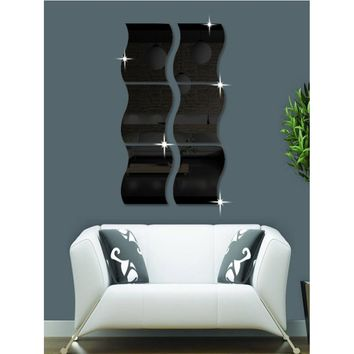 Wave Shape Mirror Wall Sticker Set 6pcs