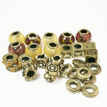 Beads for Jewelry Making | Jewelry Supply | Large Hole Beads | Wholesale Beads | Bronze Tone Large Hole Beads