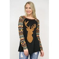 Reindeer Graphic Tee With Tribal Print Sleeves