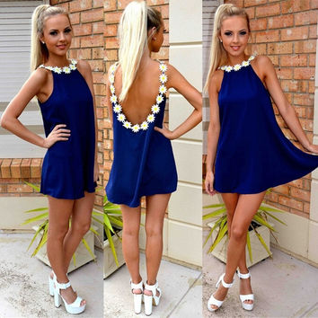 Elegant Flower Strap Collar Loose Party Dress Women Sexy Backless Vestidos Mini Dress = 1955641028