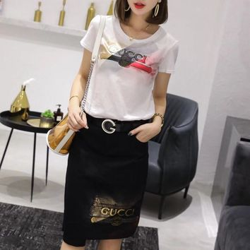 """""""Gucci"""" Women Casual Fashion Multicolor Letter Embroidery Short Sleeve T-shirt Skirt Set Two-Piece"""