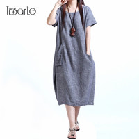 Loose Chinese style solid linen dress Breathable fabric