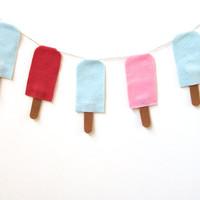 Popsicle felt banner in blue, red and pink, Summer wall hanging