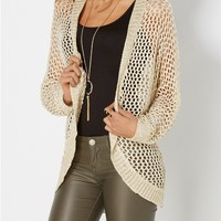 Ivory Metallic Open-Knit Cocoon Wrap