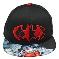 DC Comics Harley Quinn Bill and Red and Black Batman Logo Snapback Cap