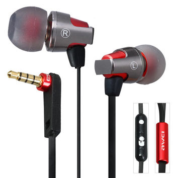 Newest Awei ES-860hi Super Bass 3.5mm  Earphone with Mic 1.2m Cable In-ear Headset Fone De Ouvido for iPhone Samsung Tablet PC