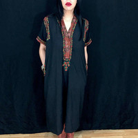 Vintage 70s Black Indian Embroidered Kurti Tunic Muumuu Kaftan M // S