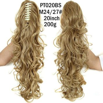 "20"" Long Curly Claw Clip Drawstring Ponytail 120 g Hair Extensions Blond Hairpiece"