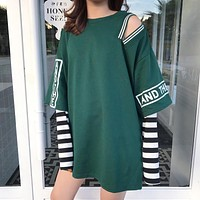 Faux 2 Piece Long Sleeved T-Shirt