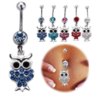 Kawaii Owl Piercing Belly Button Fashion Navel Ring 316L Stainless Surgical Steel Body Jewelry