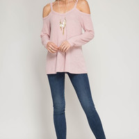 Pastel Pink Cold Shoulder Knit Top