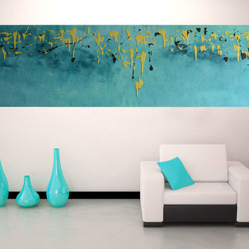 "yellow and blue  painting pop art  - 57,5x 18""( 147x46cm)  - mid century canvas art  Sky Line Landscape by Veronica Vilsan"