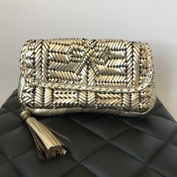 DCCKG2C Anya Hindmarch Gold Woven Leather Rossum Clutch