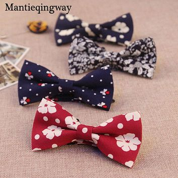 Cotton Bowtie Men Fashion Casual Floral Printed Bow Ties For Men Wedding Tuxedo Cravat Accessories Skinny Bow Tie