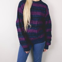 Vintage Navy Purple Striped Knit Sweater