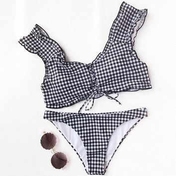 2018 Sexy Swimwear Frilled Gingham Lace Up Bralette Bikini Set Bathing Suit Scoop Neck Padded Low Waisted Swimsuit Beach Suits
