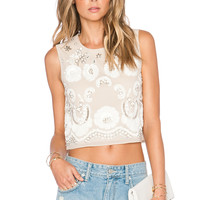 Needle & Thread Sequin Lace Ribbon Top in Dust Rose & Cream