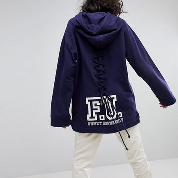 Puma X Fenty Long Sleeve Hoodie With Lace Back at asos.com