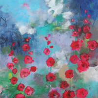 "Acrylic Floral Painting on Canvas, Abstract Landscape, Red, Blue, Expressionist, ""Hollyhocks"""