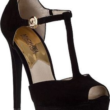 MICHAEL Michael Kors Brayson T-Strap Pump Black Suede - Jildor Shoes, Since 1949