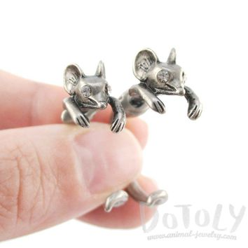 3D Mouse Shaped Front and Back Two Part Stud Earrings in Silver