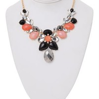 Statement Necklace with Three Colored Teardrop Stones