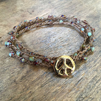 Peace Sign Bracelet, Knotted Crochet, Bohemian Boho, Hippie Girl, Beaded Wrap Bracelet by Two Silver Sisters
