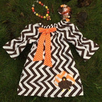 Girls Thanksgiving Dress, Chevron Thanksgiving Outfit, Toddler Thanksgiving Dress, Toddler Turkey Day Outfit, Thanksgiving Chunky Necklace