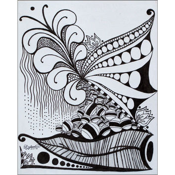 Nature Zen Doodle - Giclee Print of Ink Fine Art Drawing