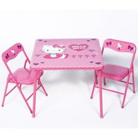 Kids Table and Chairs Activity Home Furniture Set,The Popular Hello Kitty Childrens Pink Table and Chair Sets,Make a Perfect Addition To Any Childs,Bedroom,Toy Play Room,or Family Home.Your Child Can Draw,Paint or Pretend Play for Hours on These Sturdy Pop