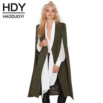 HDY Haoduoyi 2016 Women Casual Open Front Blazer Suits with Pocket Cape Trench Coat Duster Coat Longline Cloak  Poncho Coat