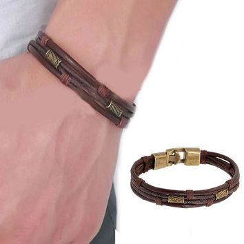 Mens Vintage Leather Wrist Band Brown Rope Bracelet Bangle Braided Cuff Vintage,