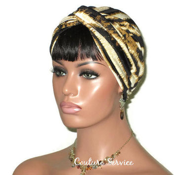 Handmade Gold Twist Turban, Black, Zebra Animal Print