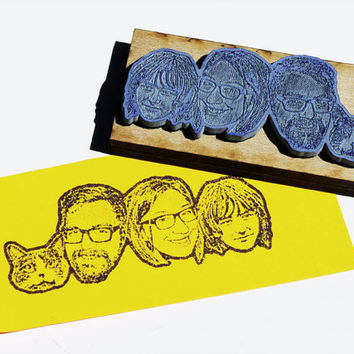 Custom face stamp : Family or couple and pet stamp. Choose any combination of pets and human faces. -Free Shipping in Canada!