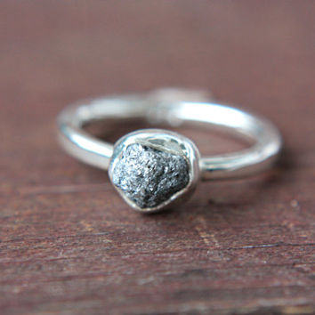 Gray Rough Diamond Ring Sterling Silver Grey Raw Diamond Engagement Ring Size 8,5 Silversmithed Metalsmithed