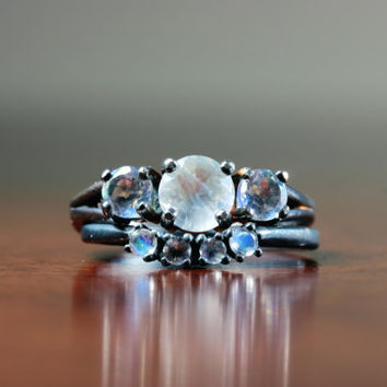 Extremely Fiery Round Cut Moonstone Bridal Set in Oxidized Sterling Custom Made in Your Size